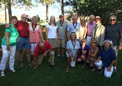 Members at the WS Senior Games dinner. (We're not sure what Al is doing - pulling weeds maybe?)